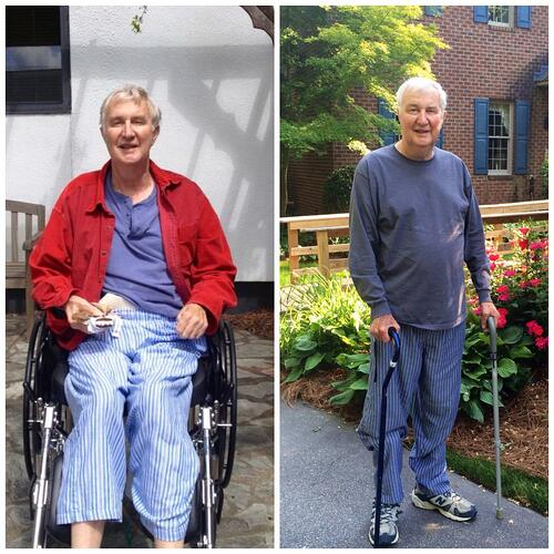 Patient with before and after picture from wheelchair to walking with canes