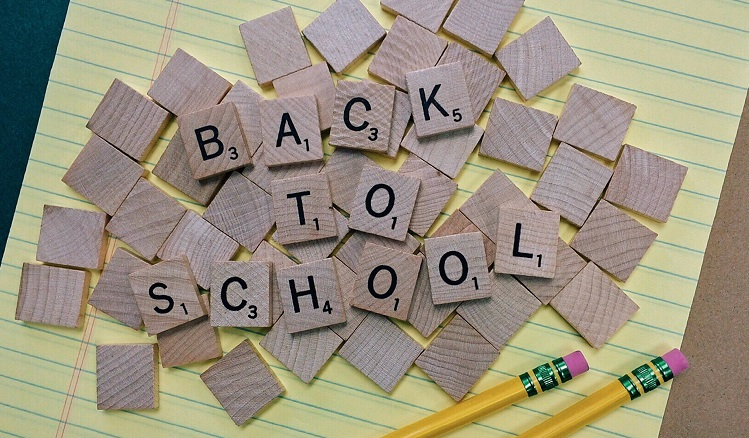 Back to School written in Scrabble tiles