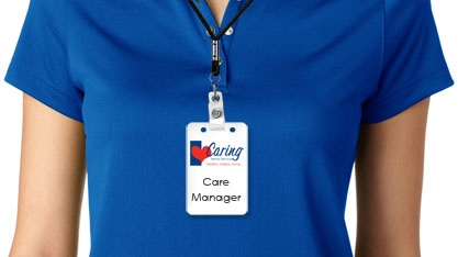 Close up of Care Manager uniform with badge