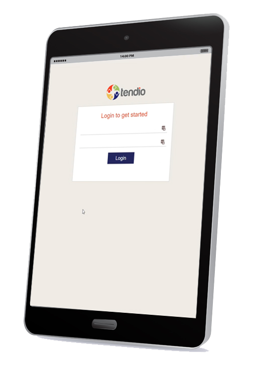 Tablet with Tendio App showing