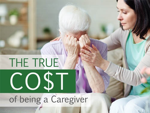 Woman comforting elderly woman with saying - The True Cost of being a Caregiver