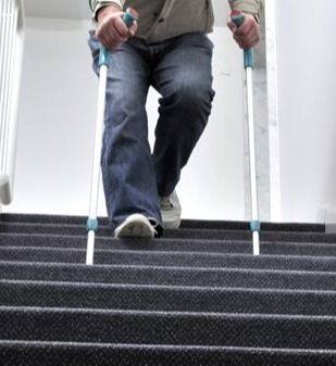 Stepping Down Stairs With Cane needing senior safety at home